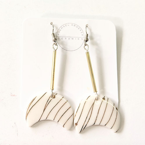 Rachael Kroeker Ceramics - White & Gold Striped Earrings