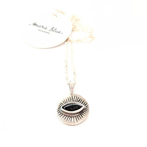 Amara Blue - Silver Onyx Eye Necklace