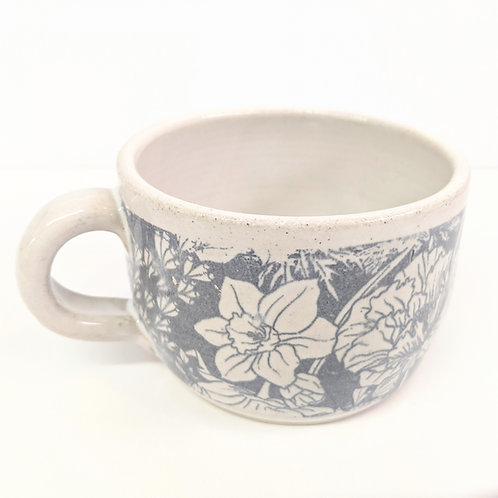 Mowbray Pottery - Grey Peonies Mug