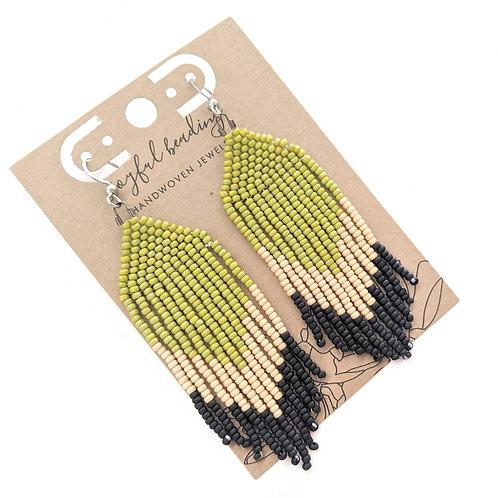 Joyful Beading - Multi Colored Beaded Chevron Earrings
