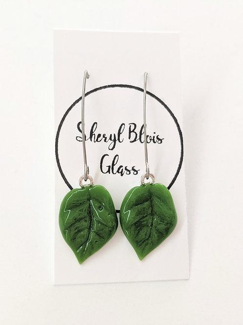 Sheryl Blois Glass - Glass Leaf Drop Earrings