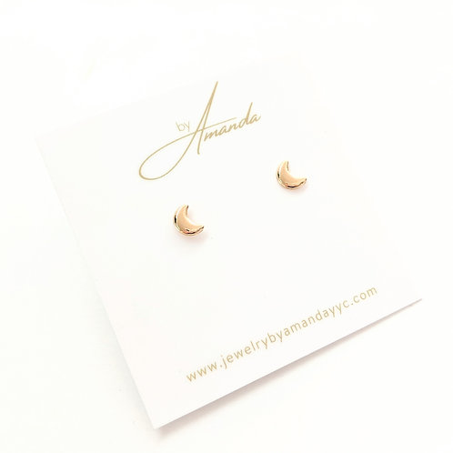 Jewelry By Amanda - Gold Crescent Moon Studs