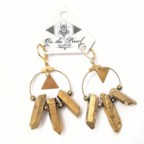 Phresha - Gold Titanium Quartz Earrings