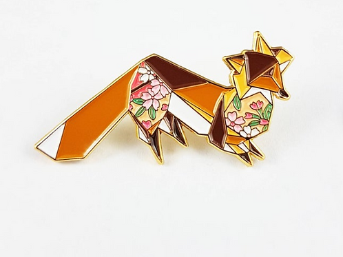 FoldIT Creations - Enamel Origami Fox Pin