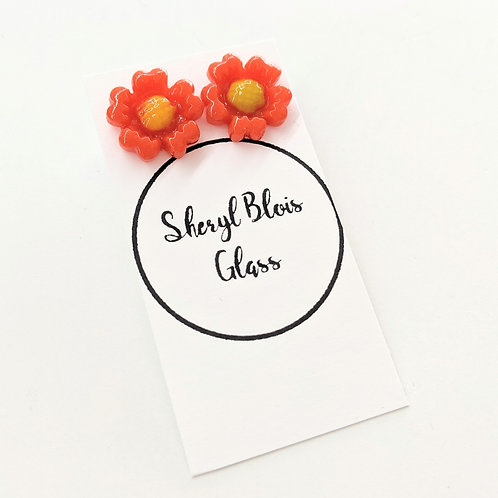 Sheryl Blois Glass - Orange & Yellow Glass Daisy Studs