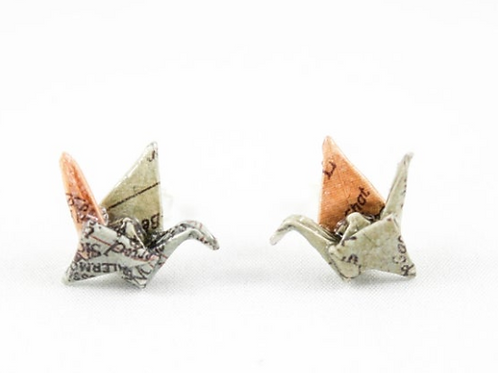 FoldIT Creations - Origami Crane Earrings