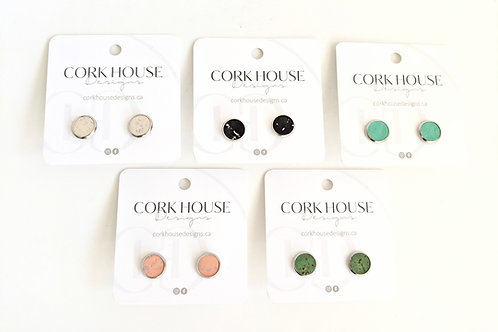 Cork House Designs - Cork Studs With Silver Setting