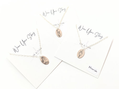 Ebb & Flow Jewelry - Silver Birth Flower Necklace