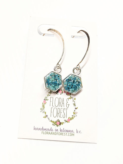 Flora and Forest - Dangly Silver Floral Earrings