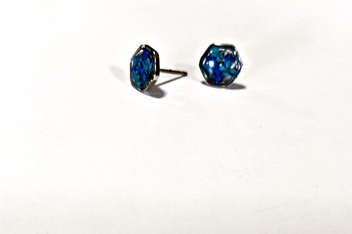 Flora and Forest - Blue Floral Hexagon Studs