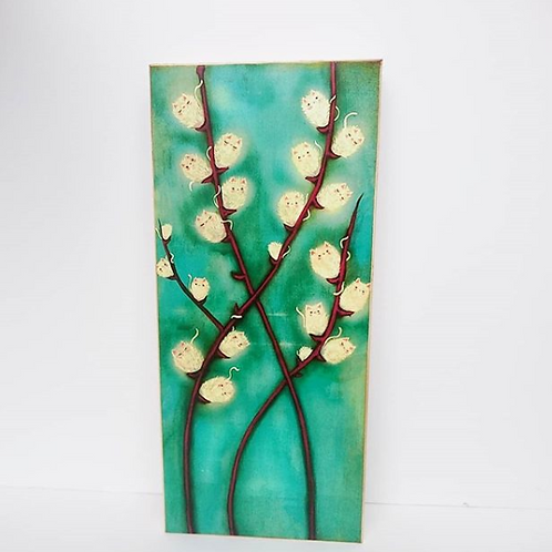 The Poppy Tree - 'Pussywillow Cats' Print on Wood