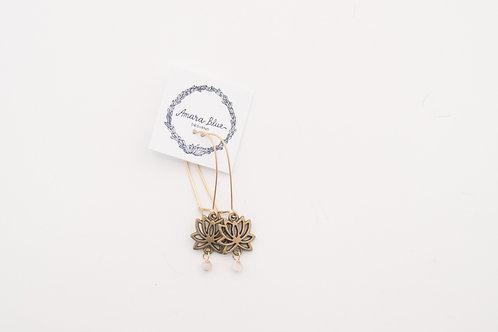 Amara Blue - Bronze Lotus Earrings