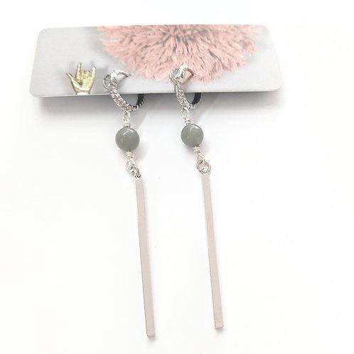 Cat D.esigns - Jade & Silver Dangle Earrings