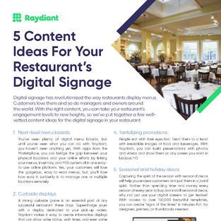 5 Content Ideas for Restaurant Digital Signage
