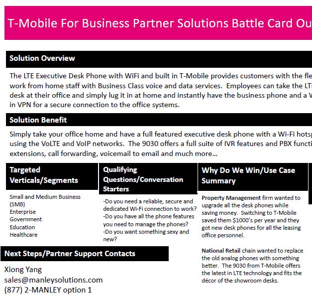 Manley Solutions Battlecard