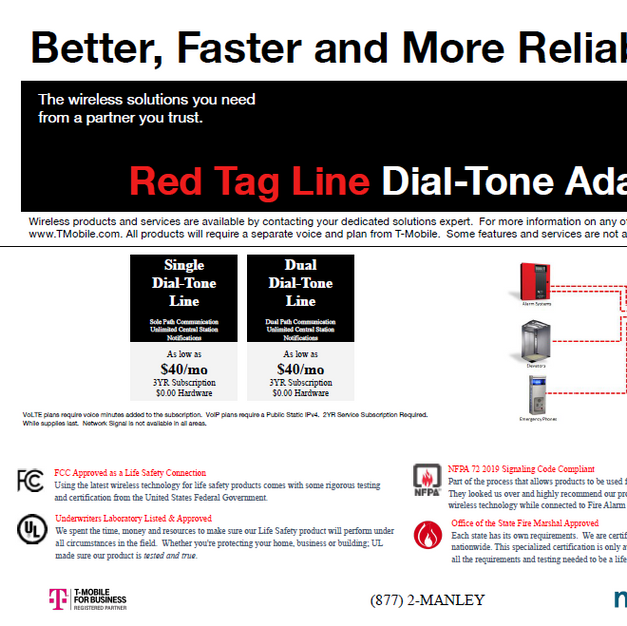 LTE Fire Red Tag Line Dial-Tone Adapter