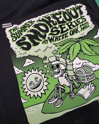 Summer Smokeout T-shirt and Poster design for White Oak Music Hall - Mobsolete