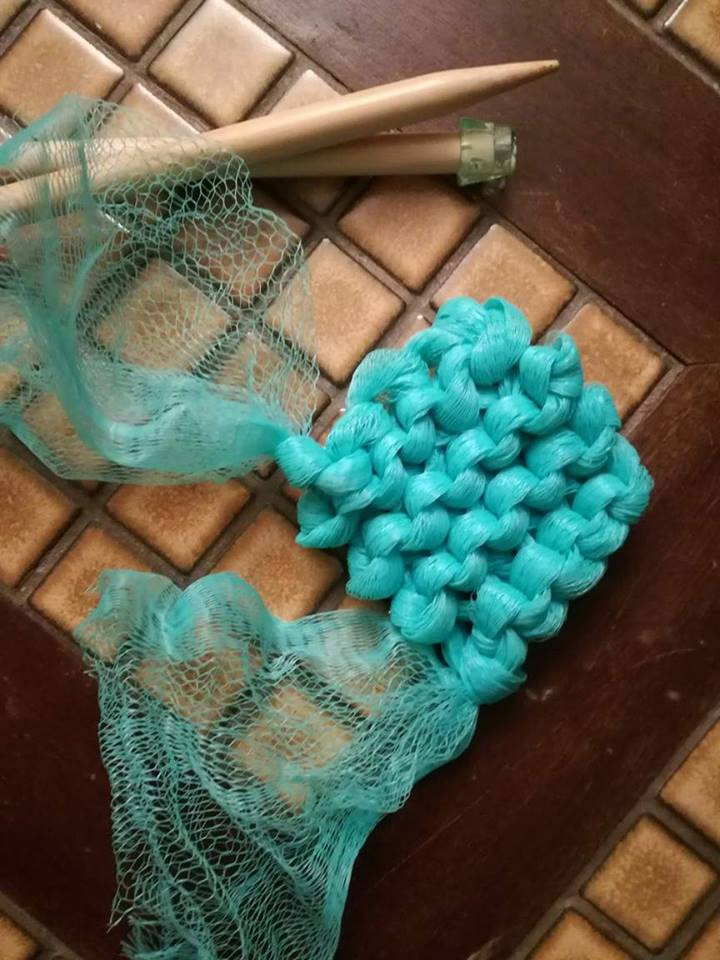 Plarn Knitted Scrubber