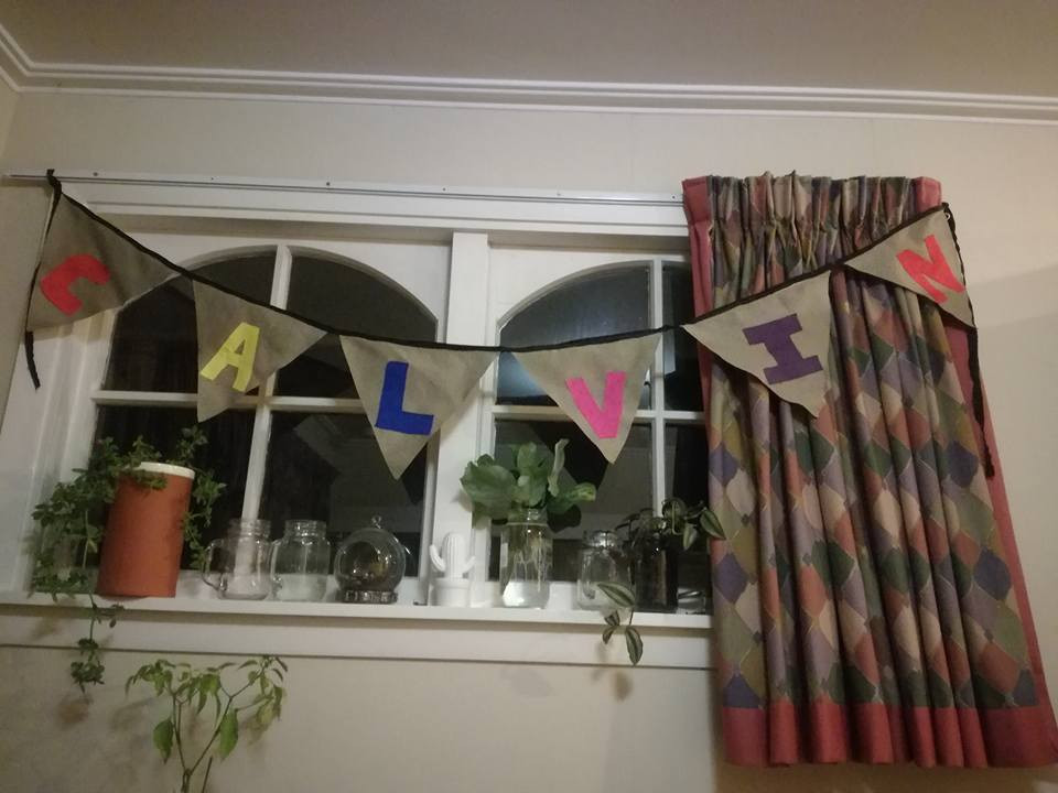 Don't ask me who Calvin is... but his mum sure went to a lot of work making this bunting!