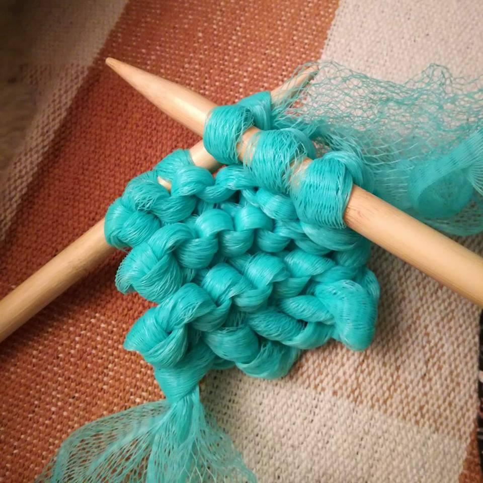 Knitting shower puff scrubber