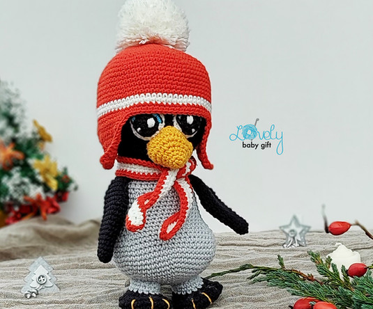 Christmas Penguin with earflap hat and s