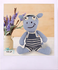 Amigurumi Free Pattern for Blue Hippo in Pants