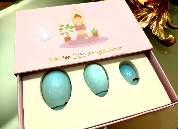Aquamarine Yoni Eggs, set of 3