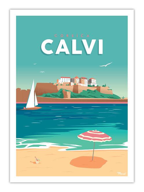 Affiche Calvi - Marcel Travel
