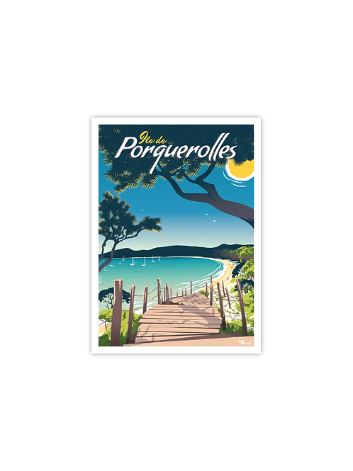Carte postale Porquerolles - Marcel Travel Poster