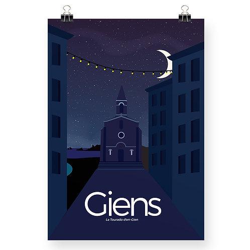 Affiche Le village de Giens, de nuit - Détendu de la claquette