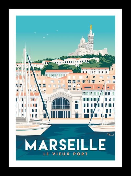 Affiche Marseille Le vieux port - Marcel Travel