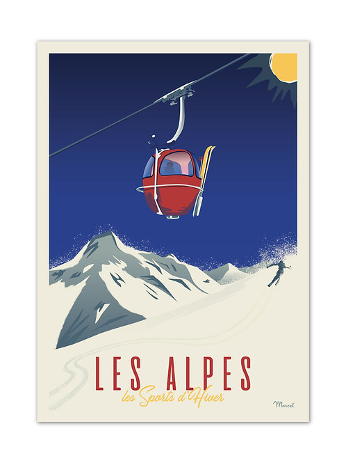 Affiche Les Alpes - Marcel Travel