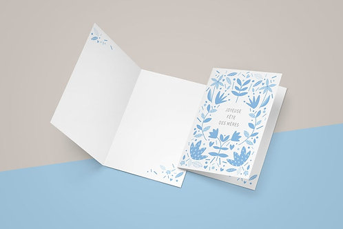 Carte fleurs bleues fête des mères