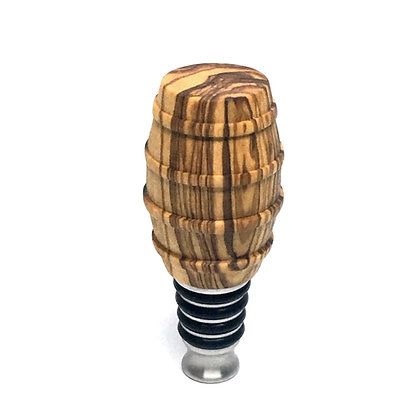 Olive Wood & Stainless Steel Bottle Stoppers - Made in America