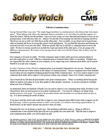 Effective Communications Safety Topic