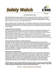 Be a Quarterback for Safety Topic