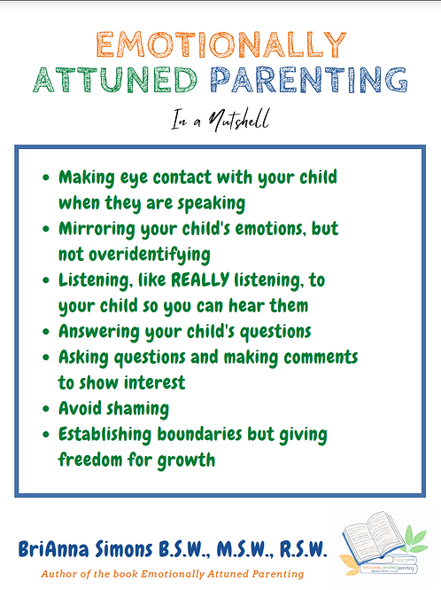 Emotionally Attuned Parenting (In a Nutshell) Printable