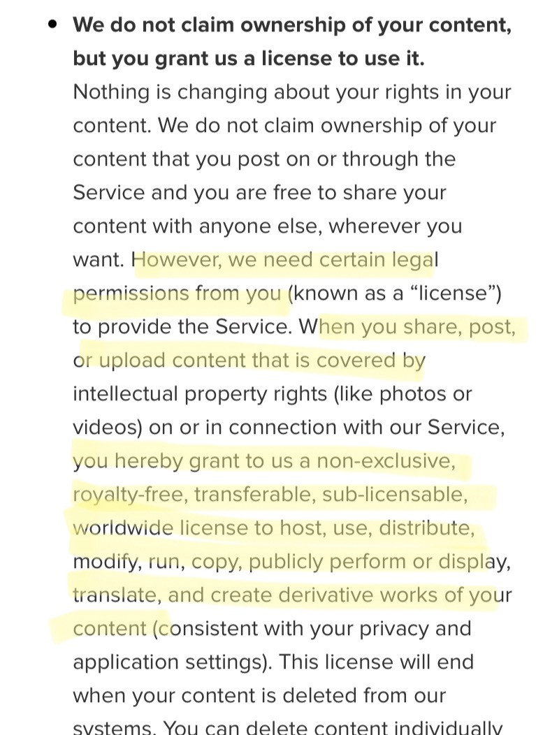 Instagram's Terms and Conditions