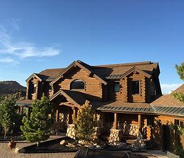 A freshly stained cabin in Scofield, Utah