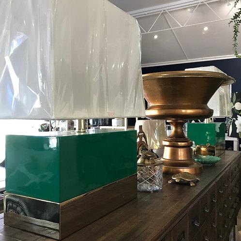 Green & Brass Rectangular Lamp