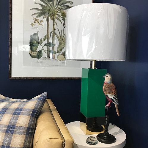 Green & Brass Square Lamp