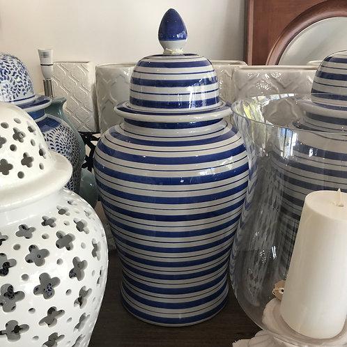 Large Striped Temple Jar