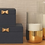 Thumbnail: Large Navy Jewellery Box with Gold Bow