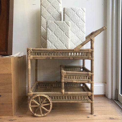 Natural Cane Bar Cart