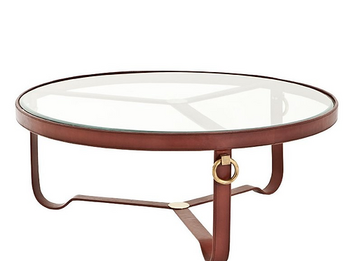Leather & Brass Coffee Table