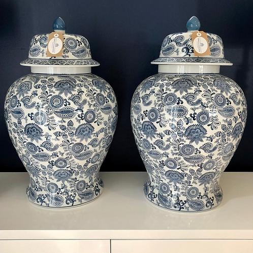 Blue & White Paisley Urn