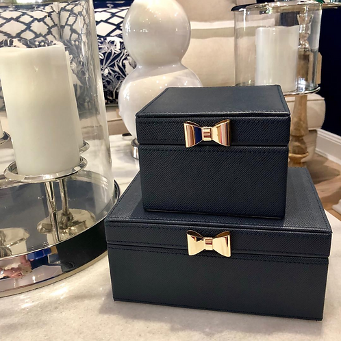 Large Navy Jewellery Box with Gold Bow