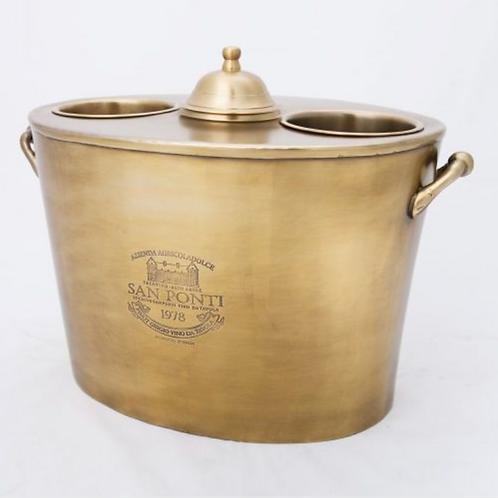 Antique Brass 2 Bottle Wine Cooler