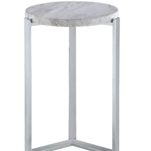 White Marble & Chrome Side Table
