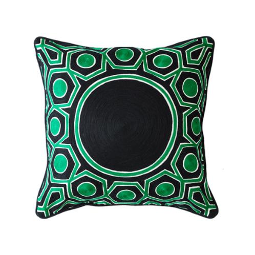 Greg Natale Green & Black Cushion